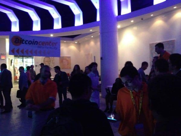 The dimly-lit trading floor of the NYC Bitcoin Center