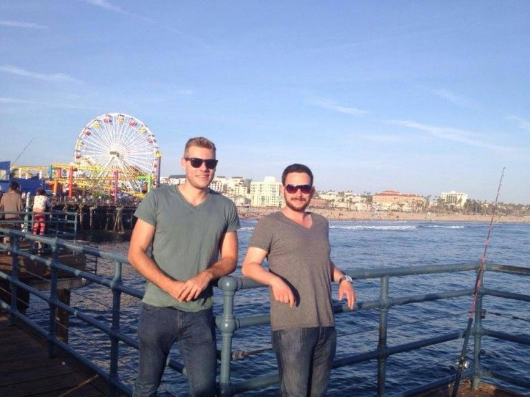 Myself with good LA friend, Leon at the Santa Monica Pier in Los Angeles, USA