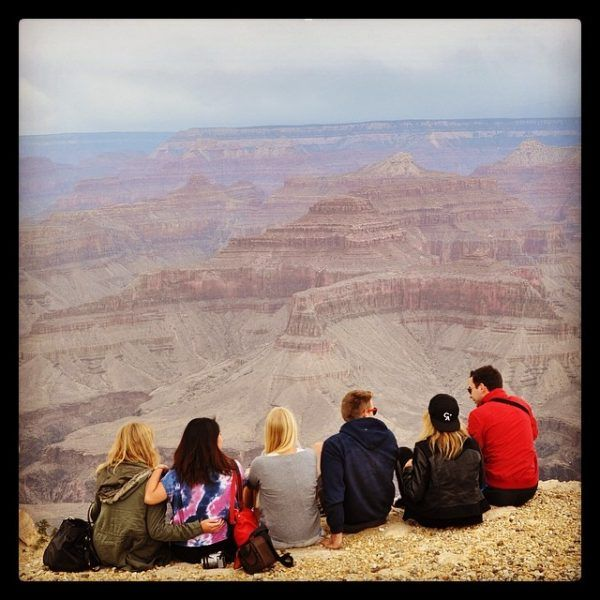 Friends and I gather at the edge of the canyon whilst one of us takes photos.