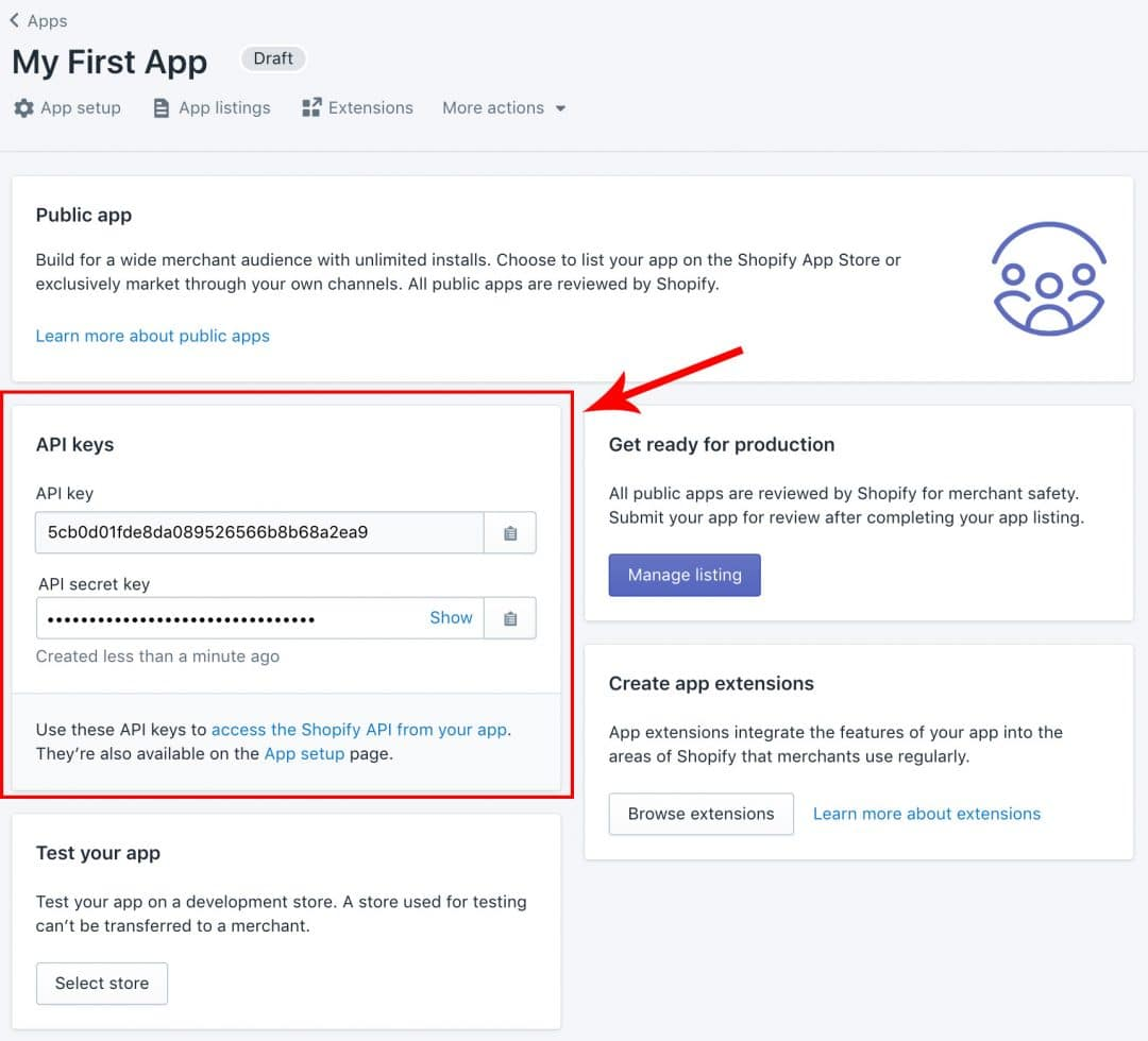 Create an in your Shopify partners account - app API keys