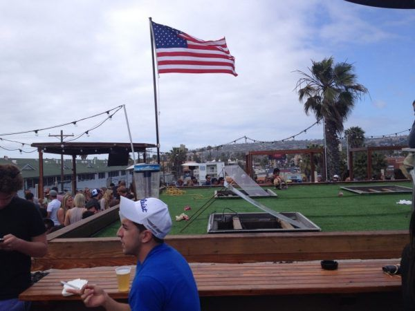 The American flag at Full Tilt on top of The Wood in San Diego's Pacific Beach