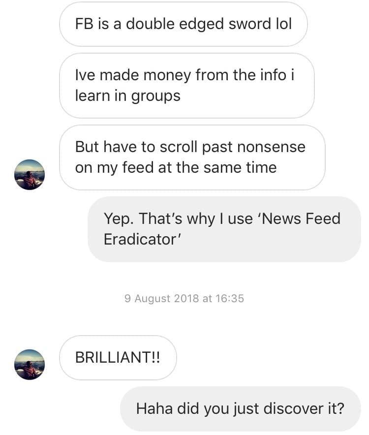 News Feed Eradicator Message Stream