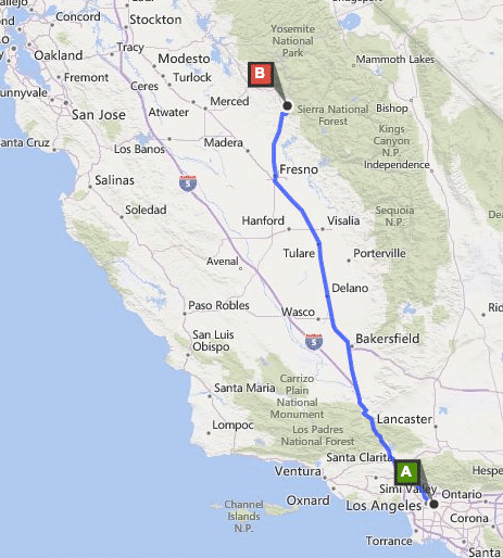 The route we were supposed to take to get to Yosemite National Park